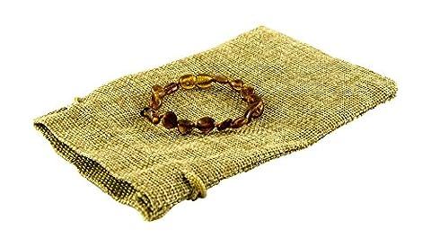 Genuine Baltic Amber Bracelet / Anklet 14cm With Natural Linen Bag - Polished Beads Cognac Color (14 cm)