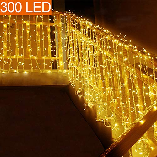 MOVEONSTEP catena luminosa 300 Led 33m corda leggera bianca 8 modalità impermeabile decorazione interna ed esterna è adatta anche per party garden Natale Halloween wedding
