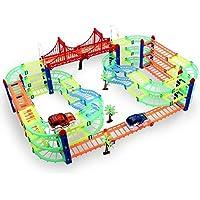 DNYCF Magic Glow Track Circuit Flexible (3.57 m¨¨Tres) Jouet DIY Construction Magic Rails Fluorescents Toy Track avec 2 Voiture Race Car Game Cadeau pour Enfants 3 4 5 6+
