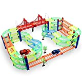 Spielzeug Glow Twister Tracks Autorennbahn Twister Truck Magic Glow Tracks Toys E-Auto Konstruktionsspielzeug Starter Set für Kinder ab 3 Jahren mit Neon Rennbahn für kreative Rennstrecken 2 leuchtende Autos 5 Meter