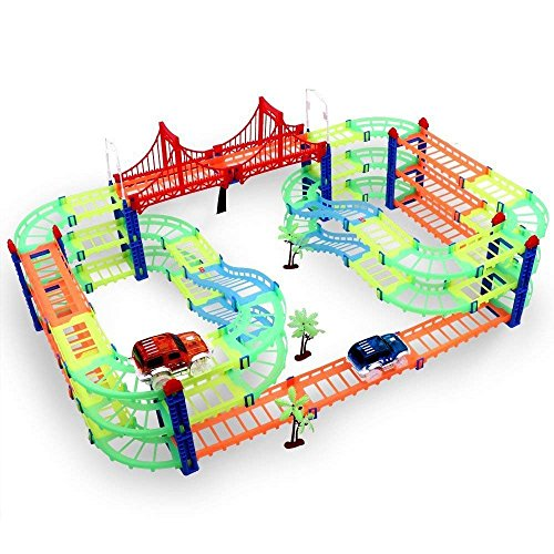MAGIC GLOW TRACKS Paso a desnivel Twister Neon Glow Serie Circuito Coches de Juguete Toys para Ninos 3 4 5 6 7 Pista de carreras DIY Juguete construccion 169 piezas con 2 coches, 3 plantas, 5 metros