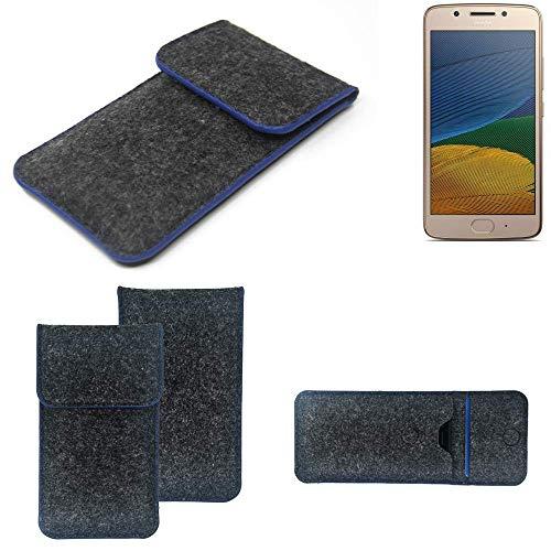 K-S-Trade® Filz Schutz Hülle Für Lenovo Moto G5 Single-SIM Schutzhülle Filztasche Pouch Tasche Case Sleeve Handyhülle Filzhülle Dunkelgrau, Blauer Rand Rand