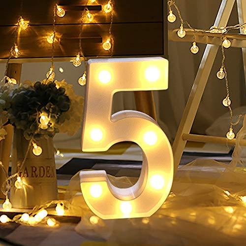 sunnymi ® Alphabet LED Brief Lichter leuchten weiße Kunststoff Buchstaben Stehen Hängen A bis Z & Wortkombination Home Garten Hotel Geschäft Dekor (K, 22 * 18cm*4.5cm) (5)