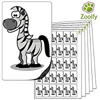 480x Zebra Stickers (38 x 21mm) High Quality Self Adhesive Animal Labels By Zooify.