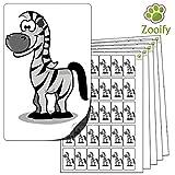 480 x Aufkleber - Zebra . Hochwertige selbstklebende Etiketten mit