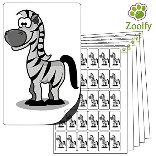 480 x Aufkleber - Zebra (38 x 21 mm). Hochwertige selbstklebende Etiketten mit Tiermotiv von Zooify. (Zebra Büromaterial)