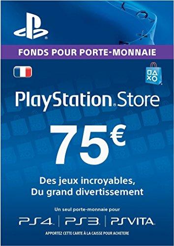 Carte Playstation Network 75 EUR [Code Jeu PSN PS4, PS3, PS Vita - Compte français]