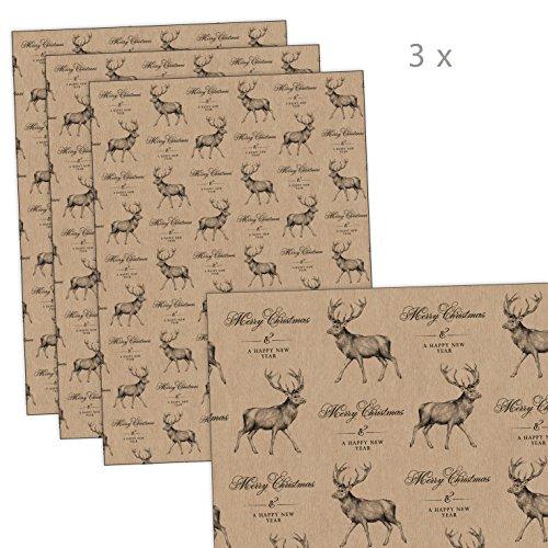 3er-Set Weihnachts Geschenkpapier Bögen HIRSCH im