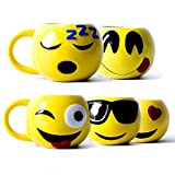 5 x Emoji Kaffeebecher Emoticon Tasse Smiley Wifi Love Frühstückstasse Tee