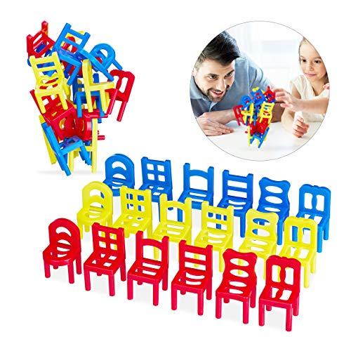 Relaxdays 2X Stühle Stapeln Spiel im Set, Geschicklichkeitsspiel für die ganze Familie, 18 teiliges Set, Stapelstuhl Spiel, bunt