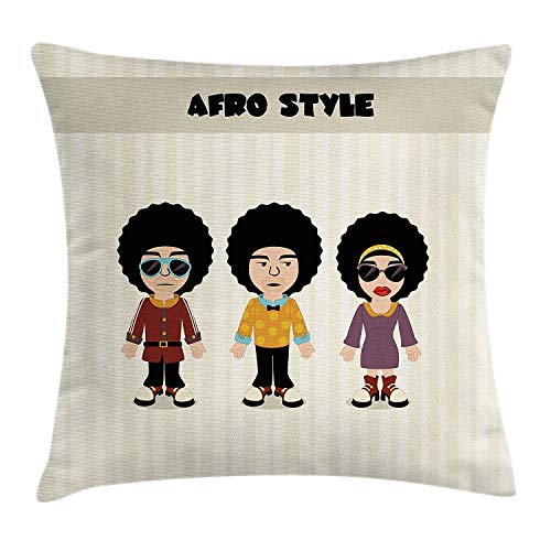 Afro Throw Pillow Cushion Cover, Vertical Line Background with Cartoon Style Disco People with Funky Rock'n Roll Design, Decorative Square Accent Pillow Case, 18 X 18 inches, Multicolor