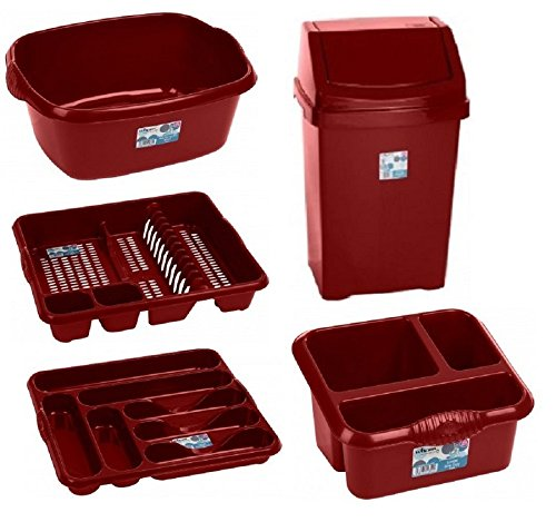 50 L SWING WASTE BIN 5 PC CHILLI RED SET DISH DRAINER CUTLERY TRAY TIDY WASHING UP BOWL (chilli red)