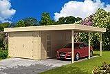 Alpholz Flachdach Holzgarage mit Carport 44 ISO, 44 mm Wandstärke (665 x530cm)