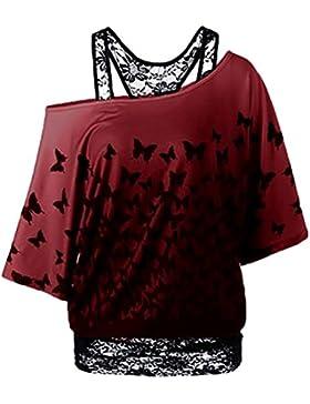 NiSeng Mujer Loose Blusas Sin Tirantes Camisetas Moda Impresión De La Mariposa Manga Bat Falsificación Dos Tops