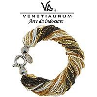 Venetiaurum - Bracciale in vetro di Murano e Argento 925 Made in Italy
