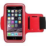 COOSA Smartphone brazal de los deportes y la titular de la clave para Apple Iphone5 / 5S y otros similares Tamaño teléfonos inteligentes, con la correa de velcro ajustable para Correr, Ciclismo, Una Buena Condición, etc. (rojo)