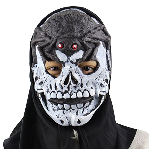 or Maske Weiß Schädel Totenkopf Latex Monster Maske Maskerade Karneval Kostüm Cosplay Requisiten für Fasching Party Abendkleid (Purge Masken Halloween-geist)