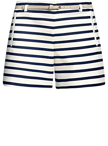 oodji Ultra Damen Baumwoll-Shorts mit Gürtel Blau (1279S)