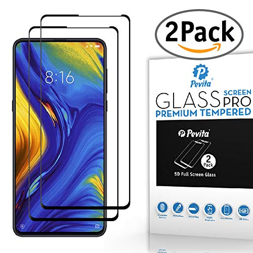 Pevita Protector de Pantalla Xiaomi Mi Mix 3. [2 Packs]. Dureza 9H, Sin Burbujas, Fácil Instalación. Protector de Pantalla de Cristal Templado Premium para Xiaomi Mi Mix 3 (Black)