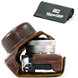 """MegaGear """"Ever Ready"""" Étui de protection en cuir pour appareil photo, sac pour Panasonic Lumix DMC-GX850, GX800, DMC-GF9, DMC-GF8, DMC-GF7 avec 12-32mm Lentille (Marron foncé)"""