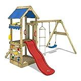 WICKEY Spielhaus FreshFlyer Spielturm Kletterturm Schaukel Sandkasten Rutsche rot + Plane blau