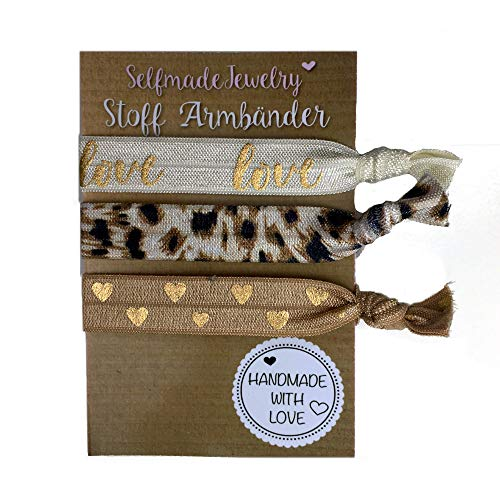 SelfmadeJewelry Damen Stoff Armband und Haargummi Set - Love Leo Herz in Braun/Gold auf elastischem Bändchen handgemacht