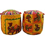 SAARTHI RAJASTHANI DECORATIVE MUDDA/OTTOMAN/STOOL FOR DRAWING, BED AND LIVING ROOM (Set Of 2)