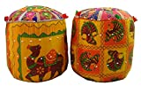 #9: SAARTHI RAJASTHANI DECORATIVE MUDDA/OTTOMAN/STOOL FOR DRAWING, BED AND LIVING ROOM (Set of 2)