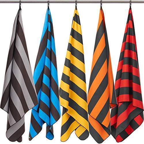 Fit-Flip Strandhandtuch XXL 200x90cm / Grau - Dunkelgrau gestreift- handtücher groß 200, microfaser Handtuch 200x90, Strandtuch mikrofaser 200x90