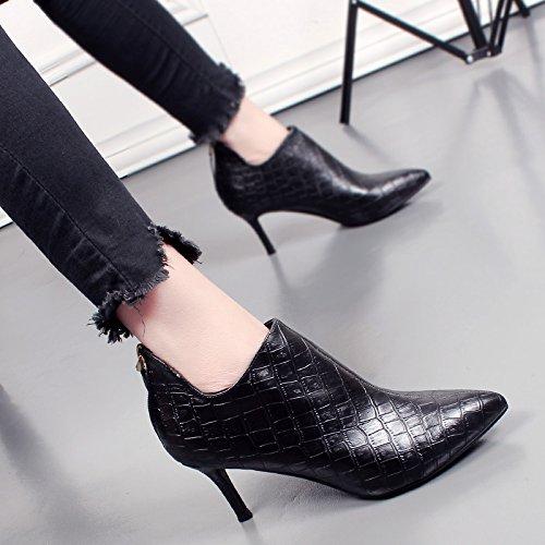 KHSKX-Bottes D'Hiver Coréen Une Femelle Avec Un Bien Identique Botte Talons Hauts Et Le Coton De Chaussures En Cuir black