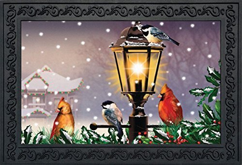 Briarwood Lane The Gathering Winter Fußmatte Lampe Post Cardinal Paar Indoor Outdoor 45,7 x 76,2 cm