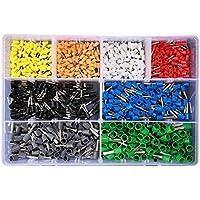 Triamisu Kits de terminales 800PCS Terminales tubulares VE Surtidos Terminales de Conector de Cable de crimpado Aislado Terminador de crimpado eléctrico - Multicolor