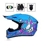 LEENY Casque de Motocross Bleu Monster Casque de Cross avec Lunettes/Gants/Masque,...