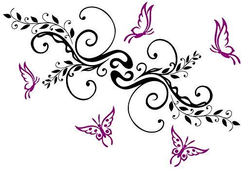 DD Dotzler Design 18092013 Auto-Aufkleber Set Blumen-Ranke mit fünf Schmetterlinge Aufkleber-Folie Klebe-Folie Auto-Folie Tuning-Aufkleber
