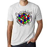 Ultrabasic - Unisex Cubo de Rubik Camiseta Rubikcube Magic T-Shirt Blanco Moteado