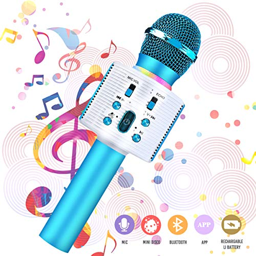 Microfono Karaoke bluetooth, NASUM Wireless Microfono Portatile Altoparlante bluetooth 4.2 Alta Qualità del suono 3-in-1 Microfono con doppio altoparlante per iPhone/Android/iPad/PC