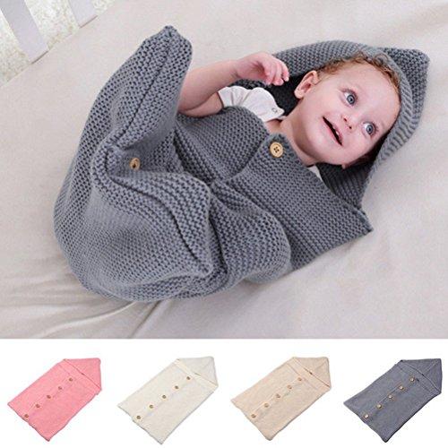 Fixuk Neugeborenes Baby Säuglingsstrick Häkelarbeit Swaddle Swaddling Decke geknöpft Schlafsack (Rosa)