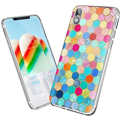 NEEDOON Coque iPhone 8 Ultra-mince anti-rayures TPU Geometric Design Housse Classy Case pour la protection du téléphone (J) H
