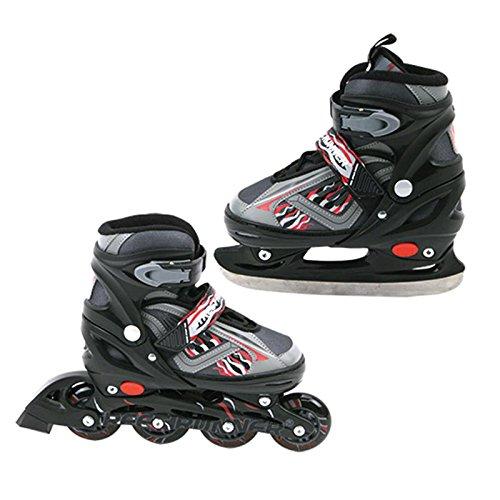 2 in 1 Inlineskate und Schlittschuh verstellbar Gr. 31-34 grau-schwarz Skates