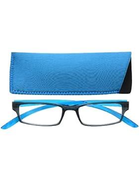 UV Reader Nero Blu Brillante Collo Specs Occhiali da Lettura Uomo Donna Astuccio Compreso UVR020
