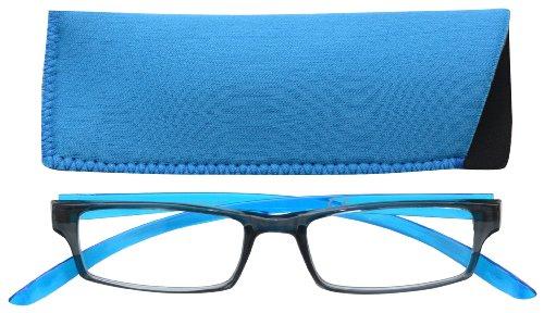 UV Reader Schwarz Leuchtend Blauen Nacken-Specs Lesebrille Herren Frauen Mit Etui UVR020 Dioptrien +2,00