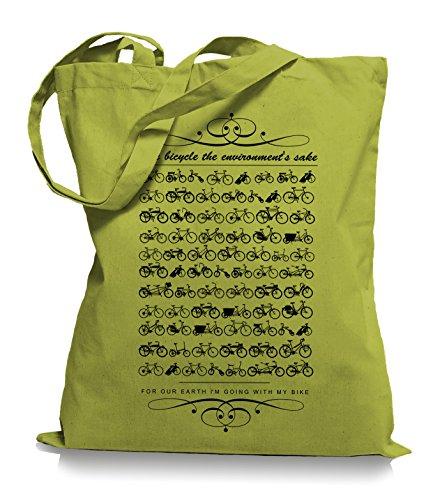 Ma2ca® Kult Bikes Stoffbeutel Einkaufstasche Tasche Tragetasche / Bag WM101 Kiwi
