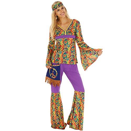 Frauenkostüm Hippie | Oberteil mit ausgestellten Ärmeln | Hose mit Schlag | inkl. Umhängetasche mit Peace - Zeichen (L | Nr. (Hippie Jungen Kostüm Ideen)
