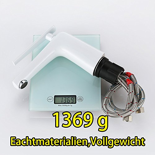 Homelody – Moderne Waschbeckenarmatur, Einhebelarmatur, Keramikkartusche, Perlator, Weiß-Chrom - 7