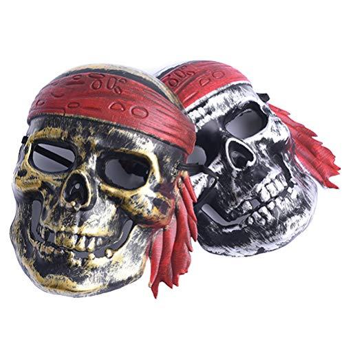 Peahop Halloween Piraten Maske, 2 Stücke Pirat Skeleton Kostüm Kinder Erwachsene Piratenrolle Spielen - Kind Piraten König Kostüm