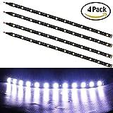 EverBright Lot de 4 bandes lumineuses LED 5050 12 SMD DC 12 V étanche pour intérieur de voiture et extérieur Blanc