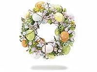Ghirlanda pasquale con uova colorate e fiori Misure: Ø 25,5 cm x 6,5 H Interno: Ø 8 Materiale: Legno Utilizzo: Ghirlande il prezzo è di due ghirlande