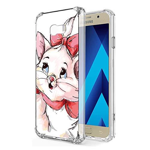 "Zhuofan Plus Coque Samsung Galaxy A5 2017, Silicone Transparente avec Motif Design Antichoc Coussin d'air Housse TPU Souple Airbag Shockproof Case Cover pour Samsung A5 2017 5,2"", Chat Rouge"