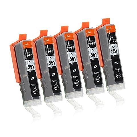 5 Cartouches d'Encre avec Puce compatible avec Canon CLI-551 (Colori A Getto D'inchiostro Di Ricambio)