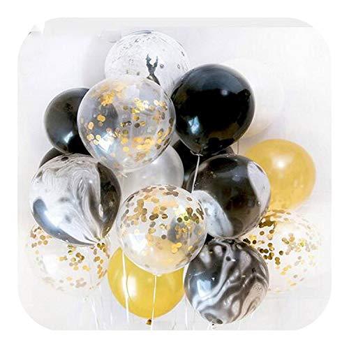 Party Decor Bollons | 20pcs Gold-Schwarz-Rosa-Partei-Dekoration Marble Konfetti Balloons Air-Agent für Hochzeit-Geburtstags-Party Fotografie Props Kulisse, Schwarz